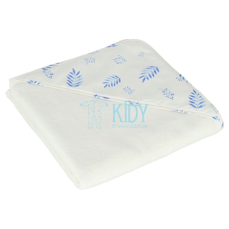 White BLUE LEAVES hooded towel