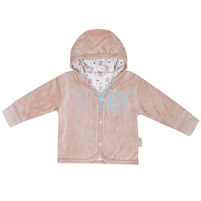 Brown velour ORGANIC reversible hooded jacket