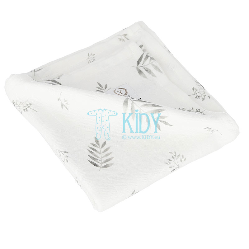 Organic cotton Grey Leaves muslin swaddle