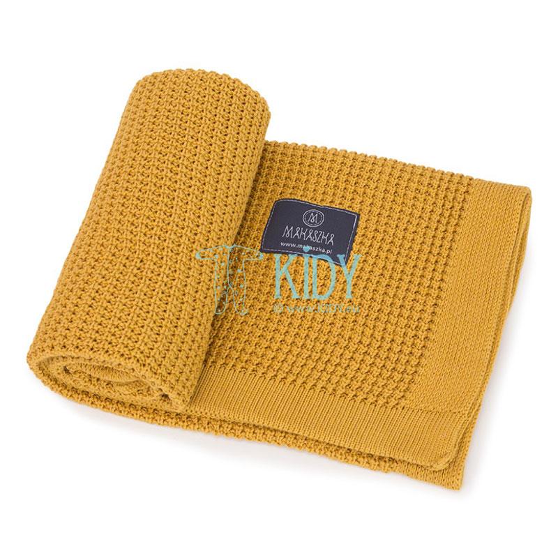 Желтый вязаный плед Bambus (MAKASZKA) 7
