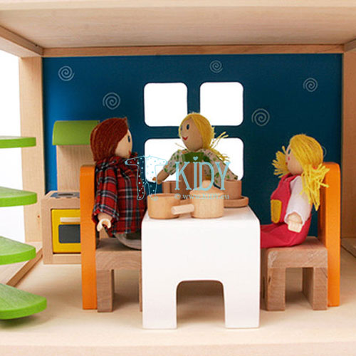 Medinis lėlių namas Linksmoji Vila su baldais (Hape) 7