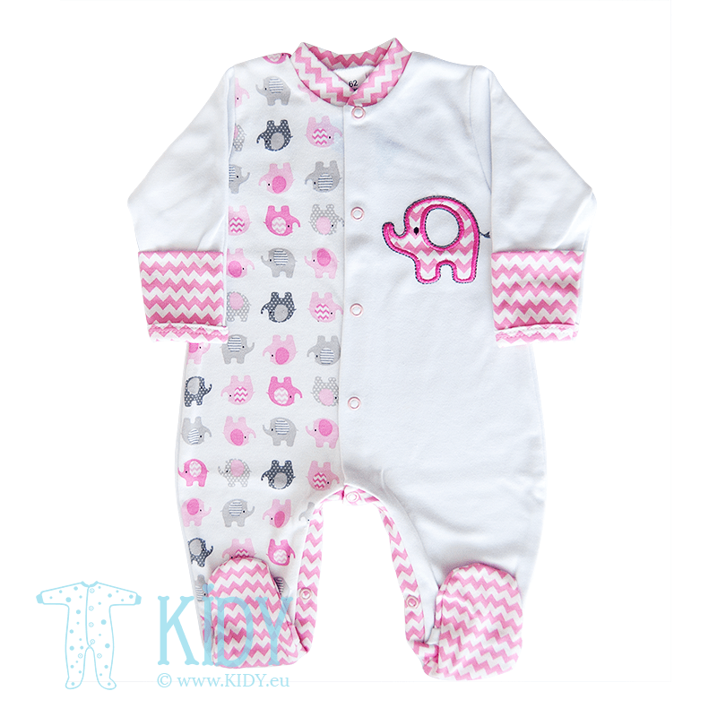 Pink sleepsuit ELEPHANT with mitts (Zuzia)