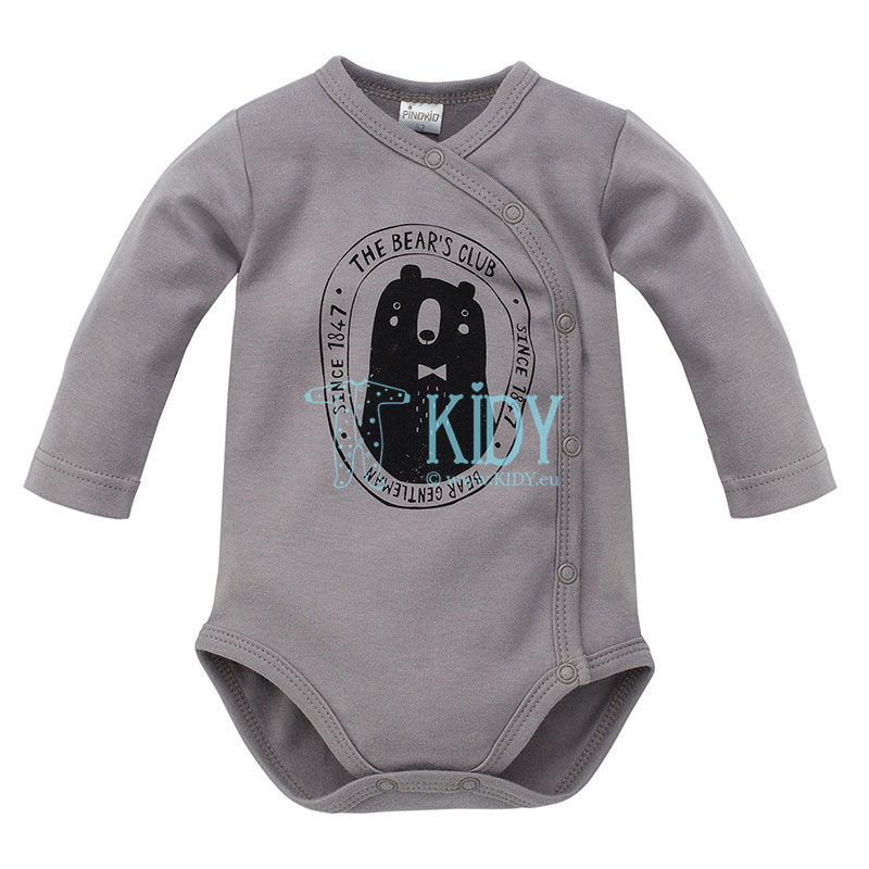 Grey THE BEARS CLUB wrap bodysuit