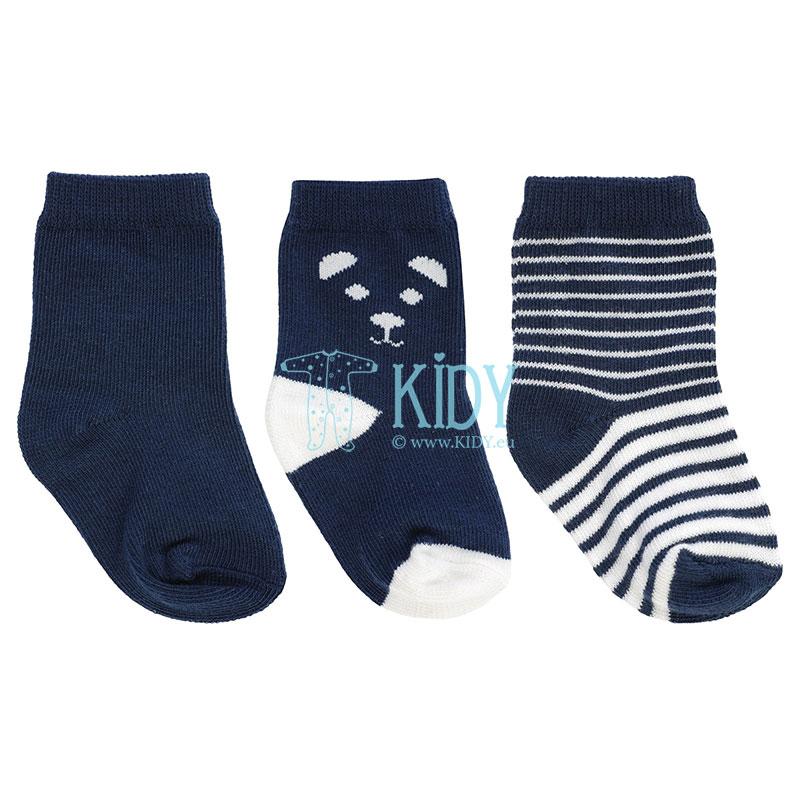 Mėlynos kojinytės BEAR, 3 poros