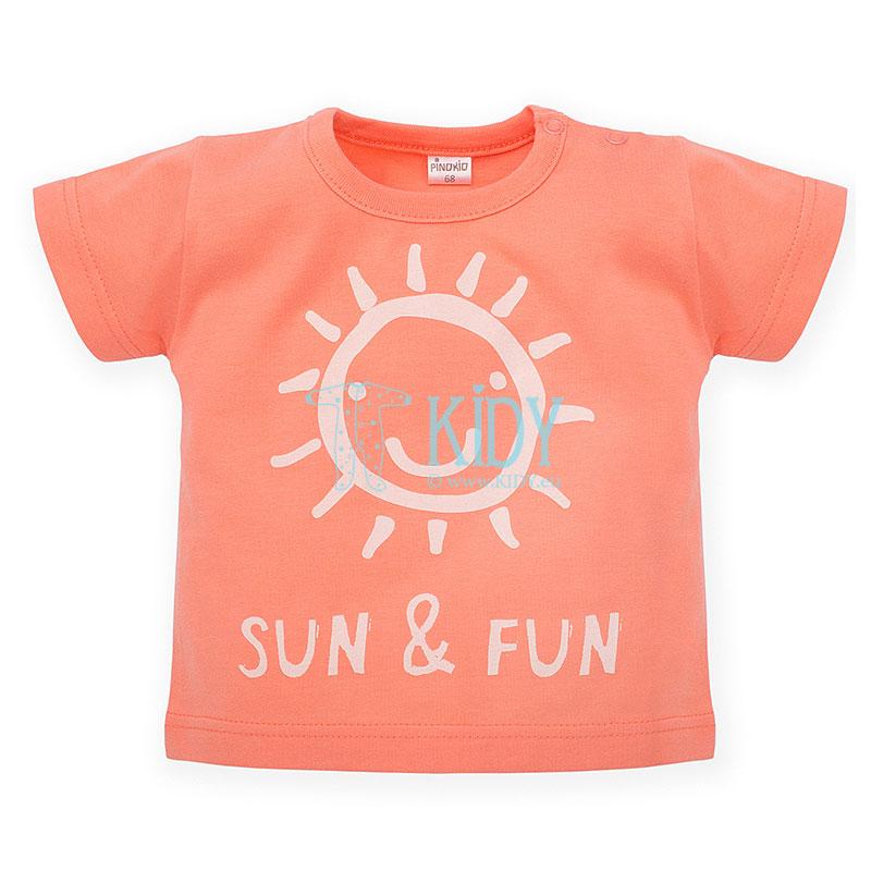 Lašišos spalvos marškinėliai SUN & FUN