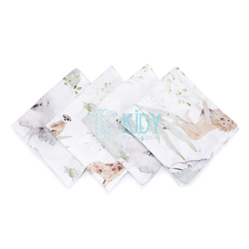 4 pcs muslin bamboo Sawanna wash cloths set