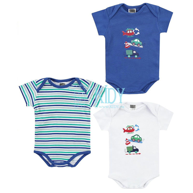 3pcs shortsleeved BEEP BEEP bodysuit pack