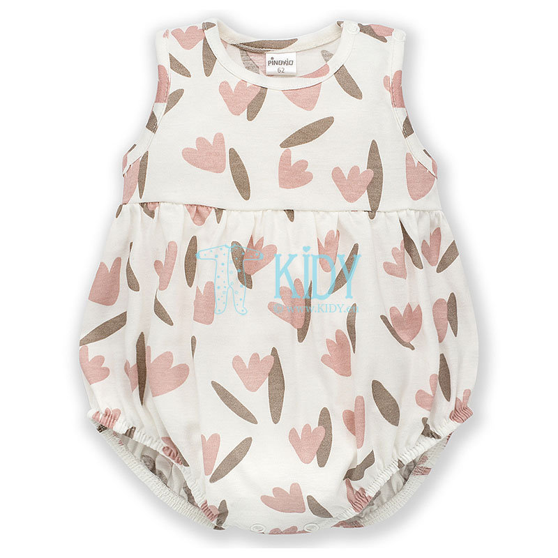 Ecru TINY FLOWERS sleeveless bodysuit with elastic bands