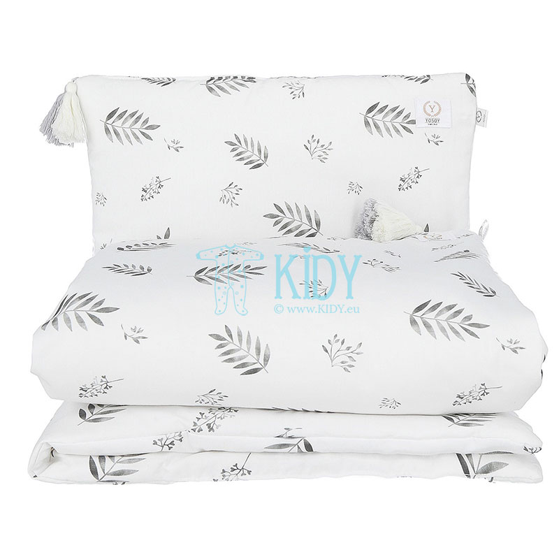 Organic cotton Grey leaves bedding set: duvlet + pillow