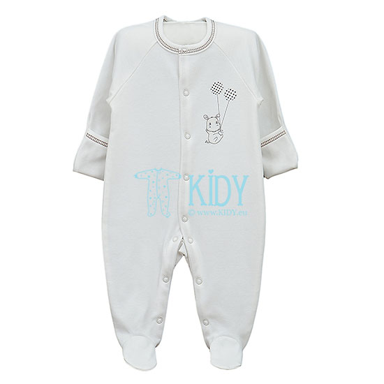 White HIPPO sleepsuit