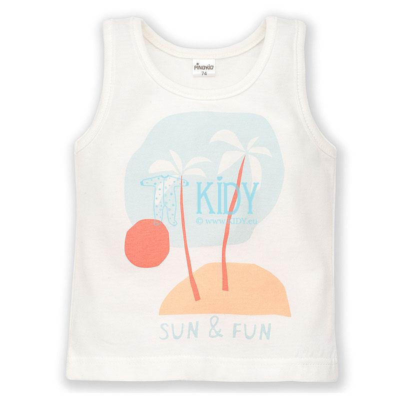 Ecru marškinėliai SUN & FUN be rankovių