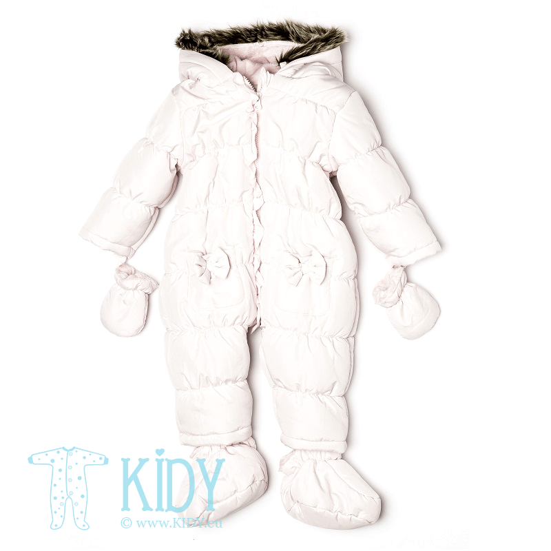 Pink snowsuit MOUSE with mitts and booties (Babaluno)