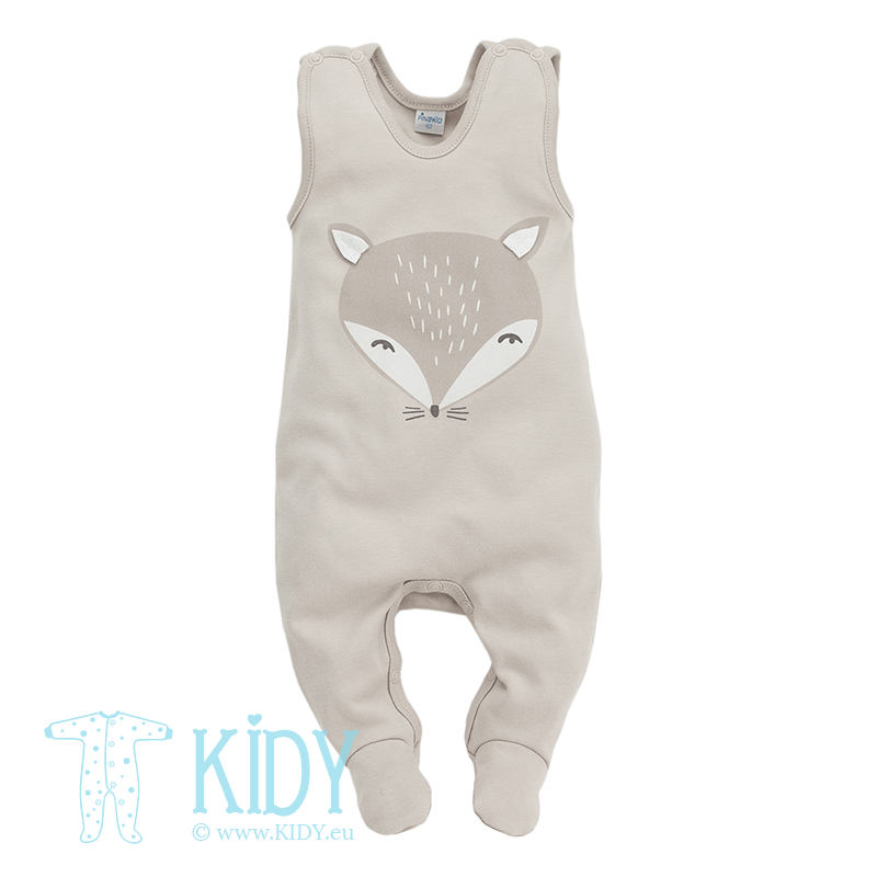 Beige romper SMART FOX with feet