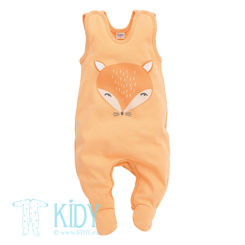 Orange romper SMART FOX with feet