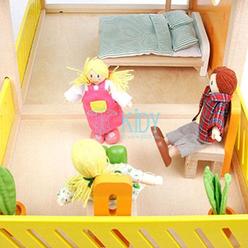 Medinis lėlių namas Linksmoji Vila su baldais (Hape) 8