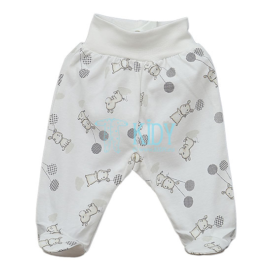 White AOP HIPPO footed pants