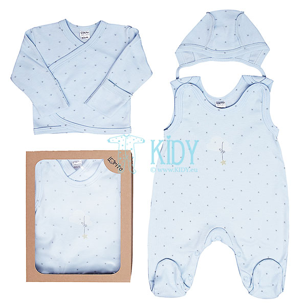 3pcs SNUBY set: dungaree + easy-shirt + cap
