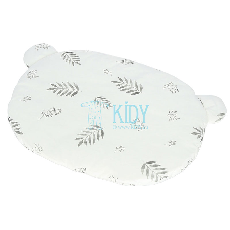 Muslin Grey Leaves pillow made of organic cotton