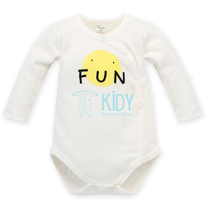 Ecru LITTLE CAR wrap bodysuit