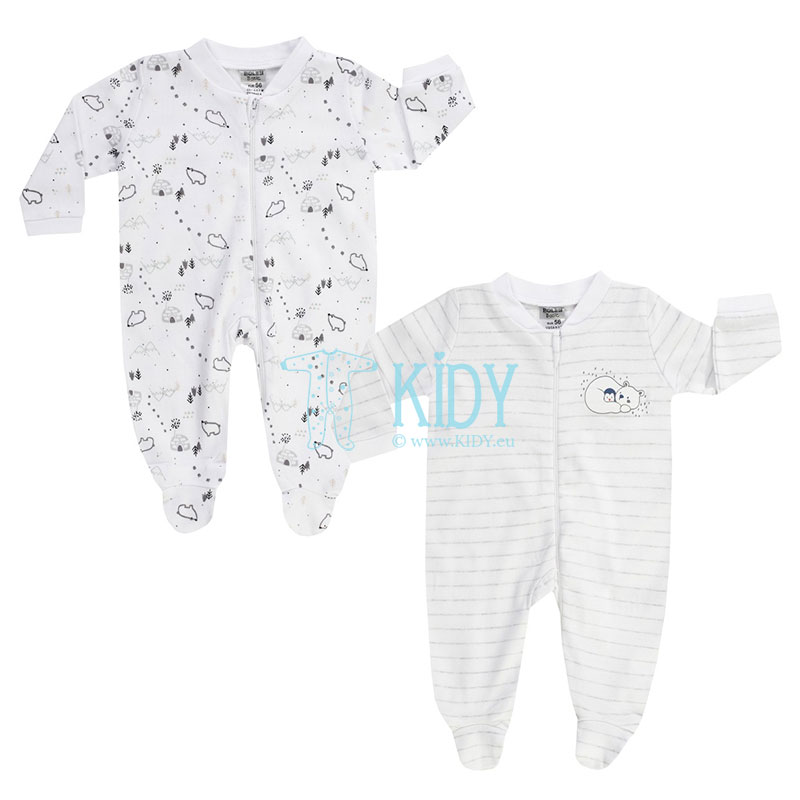2 pcs white WHITE BEAR sleepsuits set