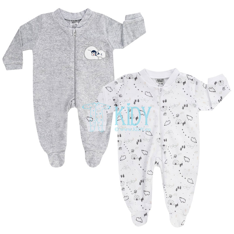2 pcs warm WHITE BEAR sleepsuits set
