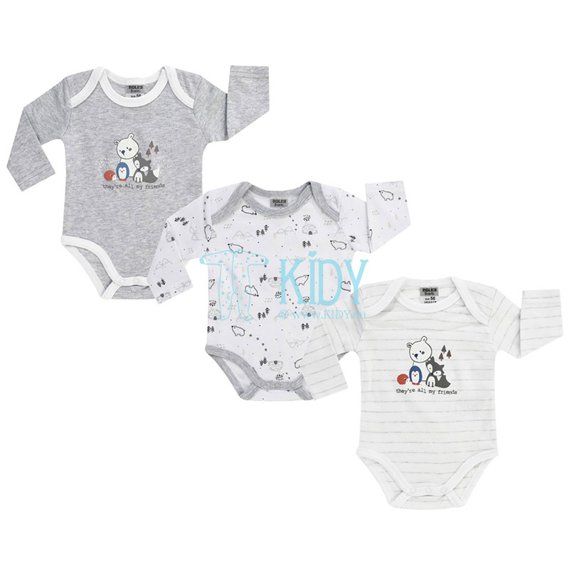 3pcs WHITE BEAR bodysuit pack