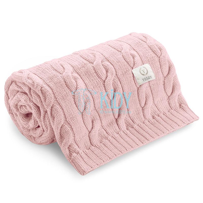 Pink knitted merino wool Jasny brudny róż plaid