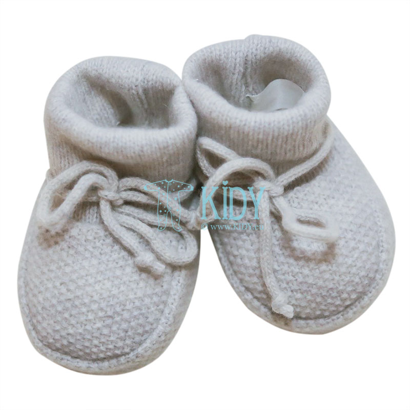 Light grey knitted merino wool booties