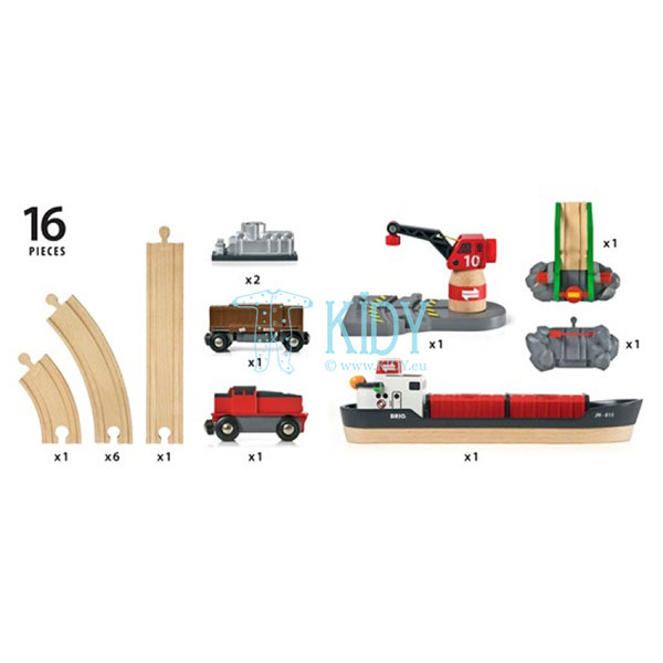 Rinkinys su traukinio bėgiais Cargo harbour (Brio) 9