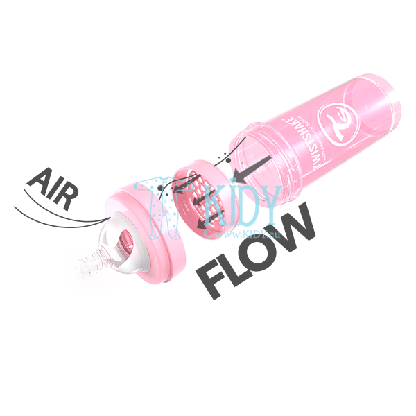 Розовая бутылочка для кормления ANTI-COLIC LIGHT PINK (Twistshake) 9