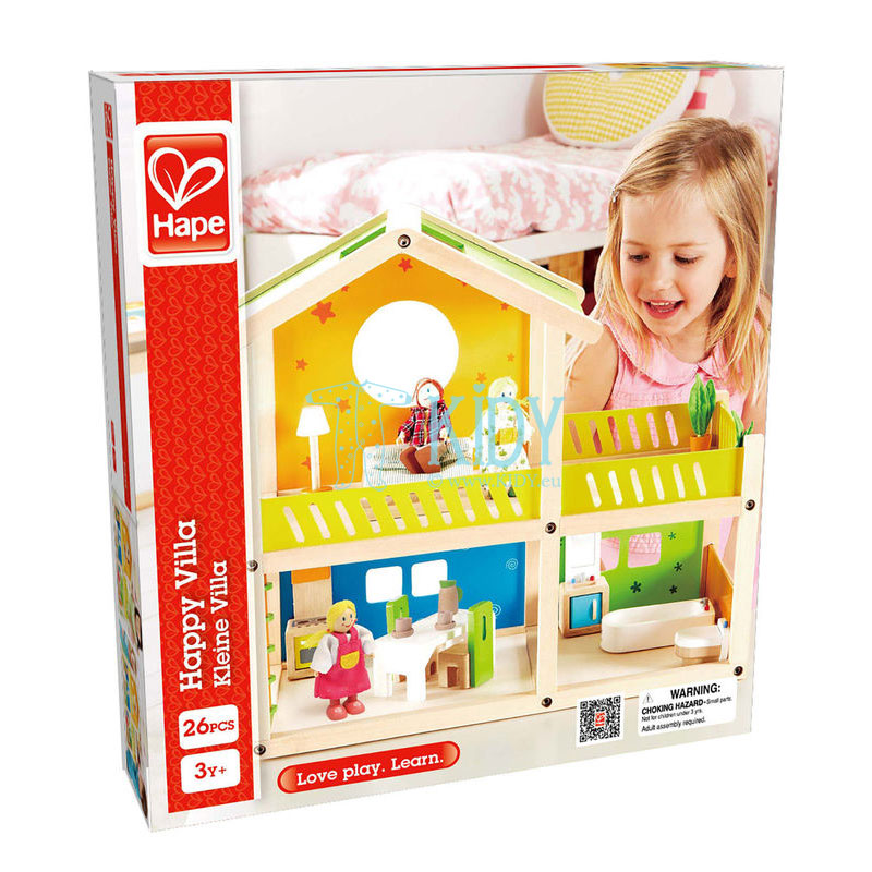 Medinis lėlių namas Linksmoji Vila su baldais (Hape) 9